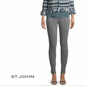St. John Gray Casual Pull On Ponte Knit Dress Pant